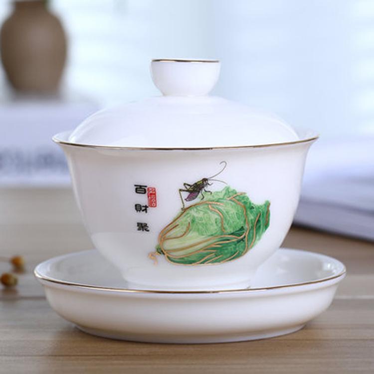 手绘陶瓷盖碗