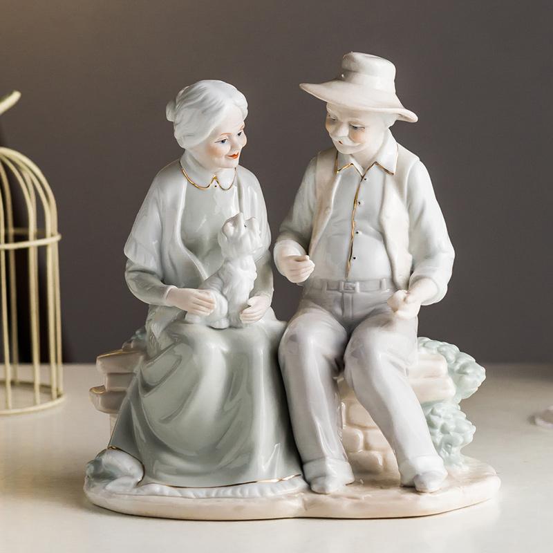 陶瓷老夫妇饰品