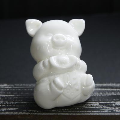 十二生肖德化白瓷茶宠工艺品猪摆件茶具雕塑品家居车载摆件