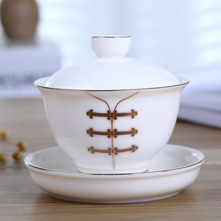 景德镇手绘青花瓷器盖碗