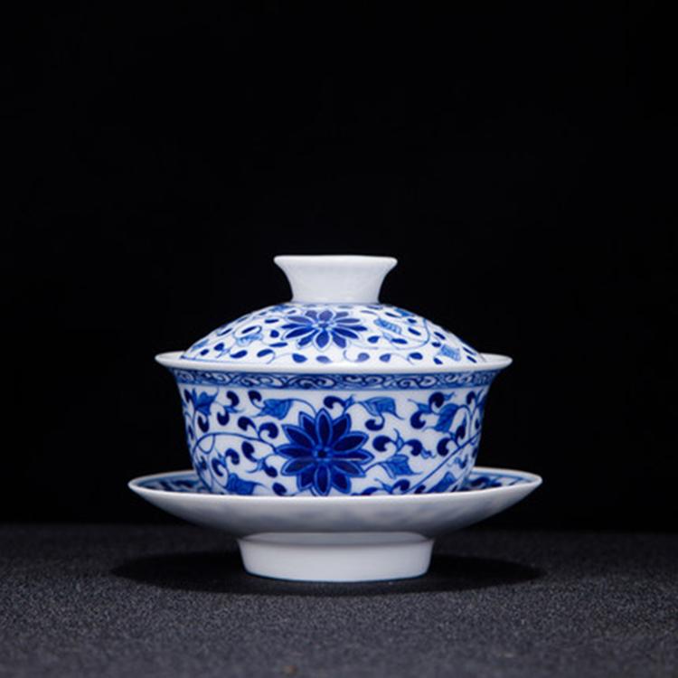 中式陶瓷盖碗茶杯