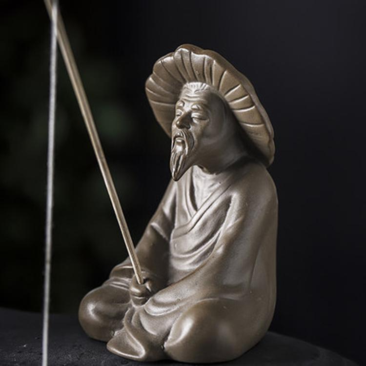 景德镇陶瓷雕塑瓷禅意姜太公钓鱼摆件
