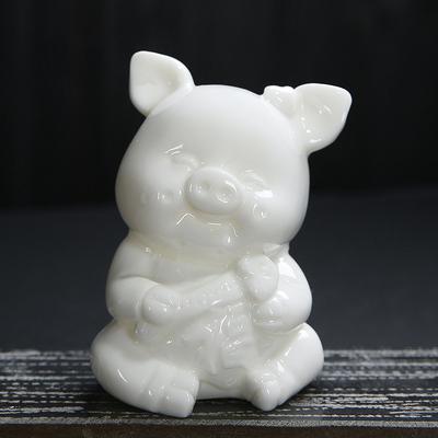 景德镇陶瓷十二生肖白瓷茶宠工艺品猪摆件