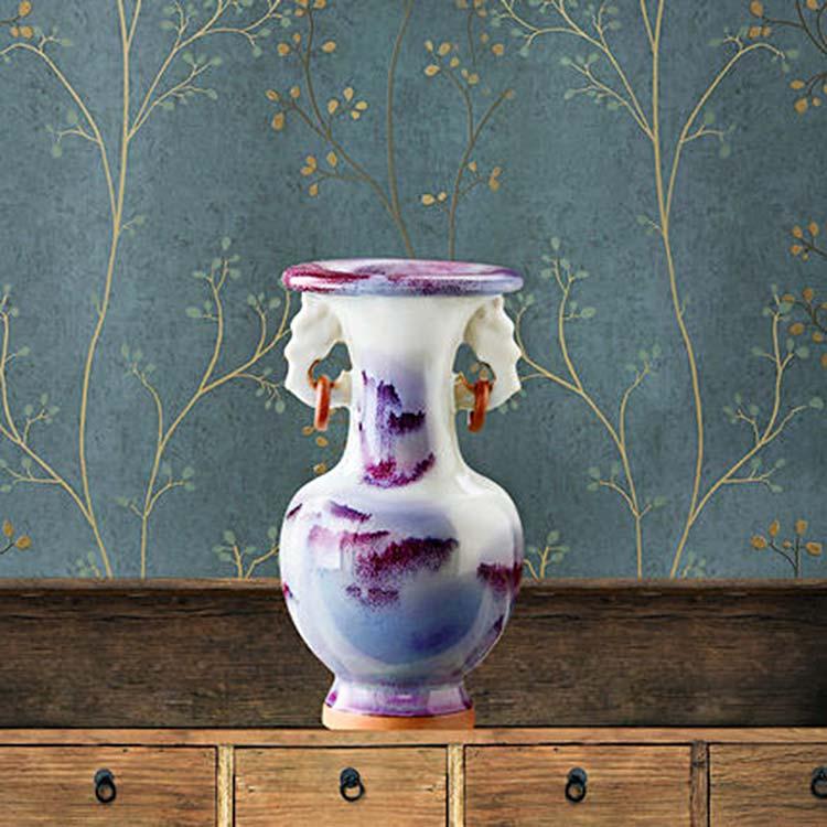 景德镇陶瓷镂空青花瓷瓶
