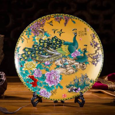 陶瓷陶瓷坐盘子风景装饰挂盘摆件订做定制纪念品
