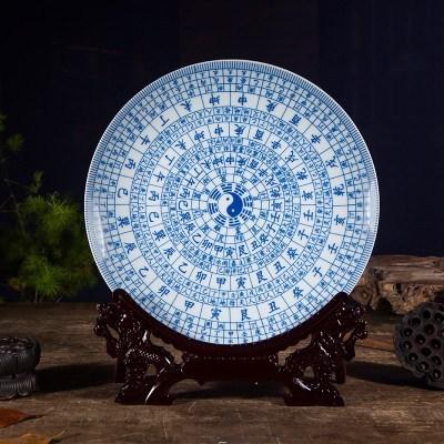 工艺品摆设盘子挂盘花开富贵客厅家饰装饰品桌面摆件