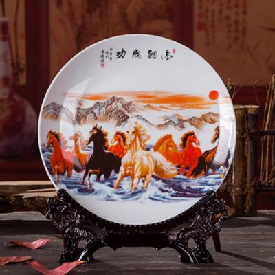 陶瓷纪念盘带龙架中式陶瓷挂盘摆件客厅家居装饰品摆件