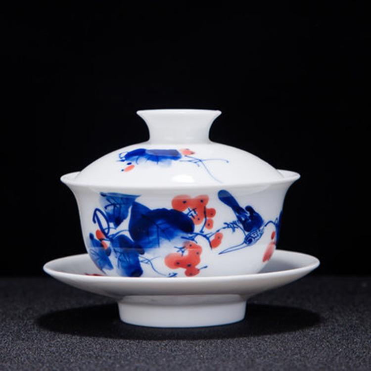 家用陶瓷中式青花带盖茶杯子