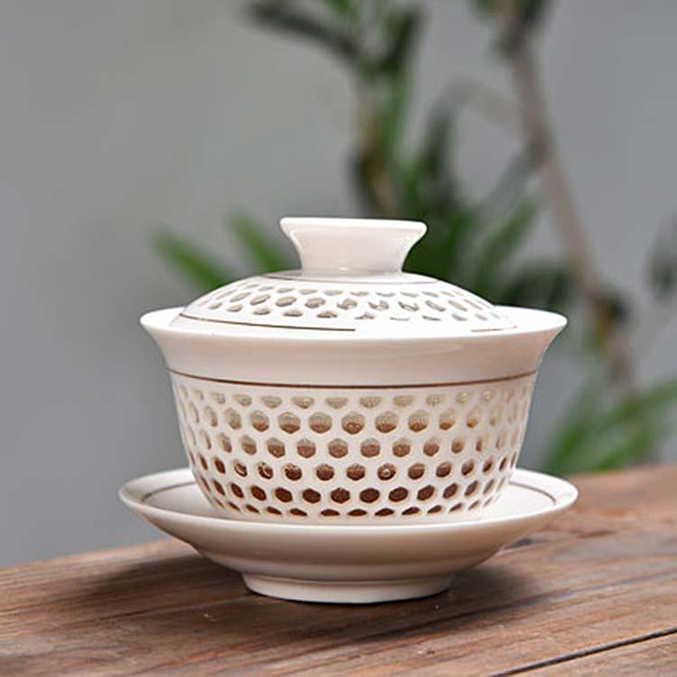 创意家用白瓷盖碗茶杯陶瓷茶具