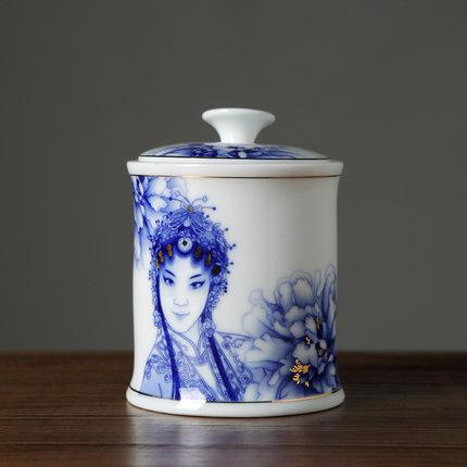 手绘白瓷茶叶罐