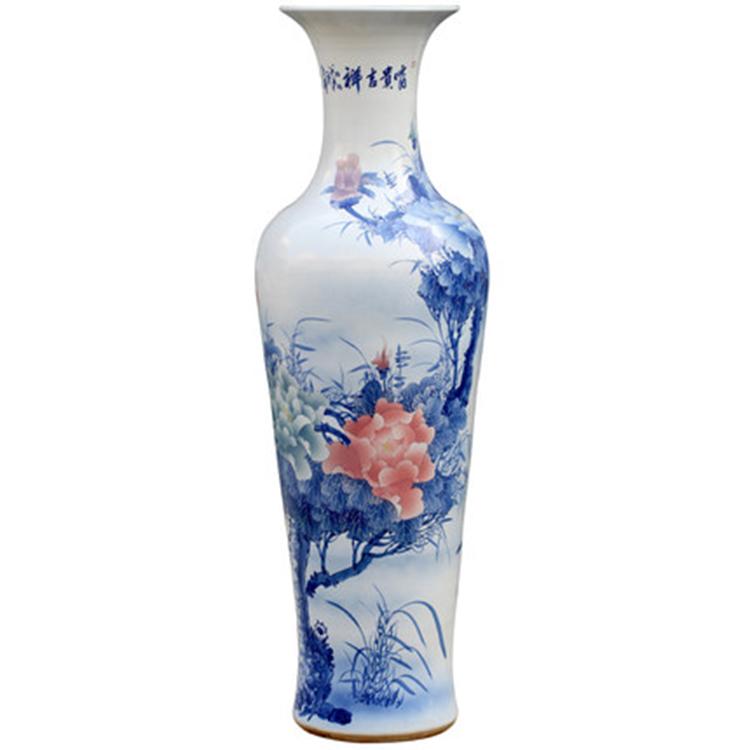景德镇陶瓷牡丹青花瓷落地大花瓶