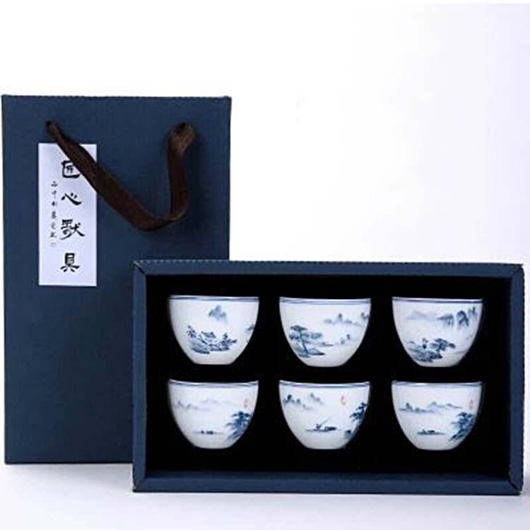 景德镇手绘小茶杯茶盏六个装