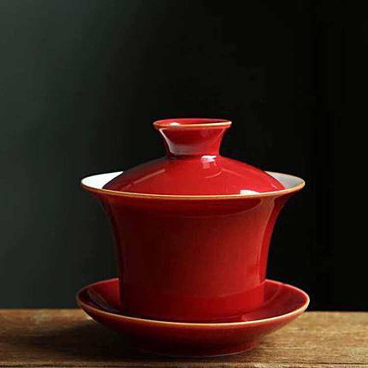 景德镇霁红盖碗茶具