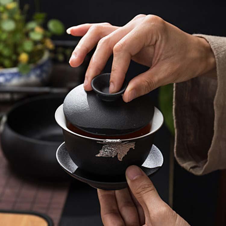 日式黑陶盖碗茶杯