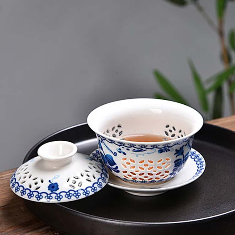 中式陶瓷三才盖碗茶杯