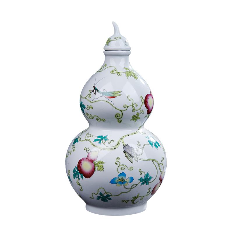 陶瓷粉彩5斤葫芦白酒酒坛子