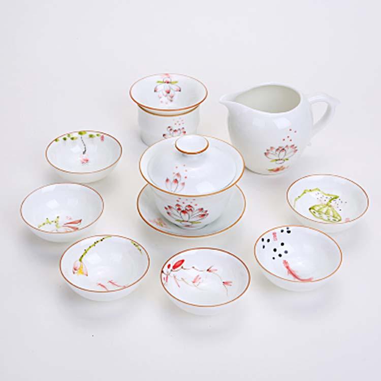 中式清新手绘茶壶