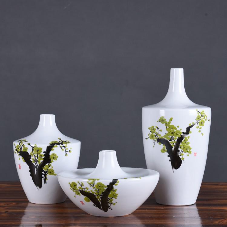 景德镇陶瓷简约现代中式花瓶三件套