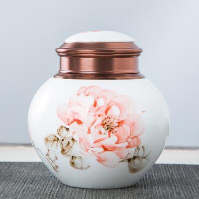 青瓷陶瓷密封罐金属盖迷你旅行