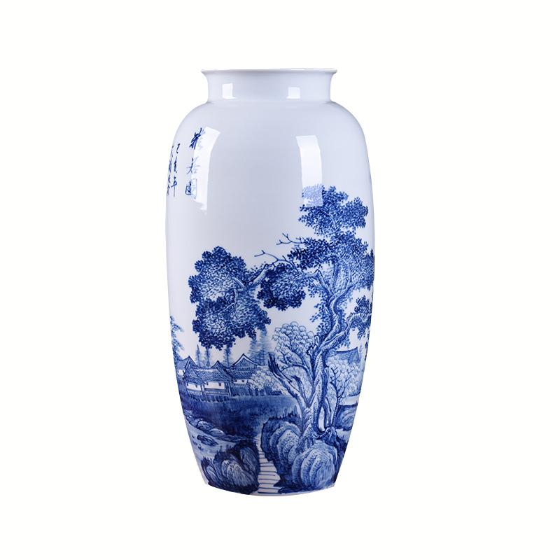 景德镇陶瓷青花瓷山水花瓶摆件