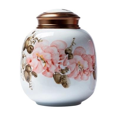 陶瓷茶叶罐大号家用直筒密封罐密封厨房坚果干货储物罐定制