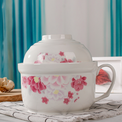家用陶瓷碗保鲜盒套装骨陶瓷保鲜碗大号带把手保鲜碗陶瓷带盖