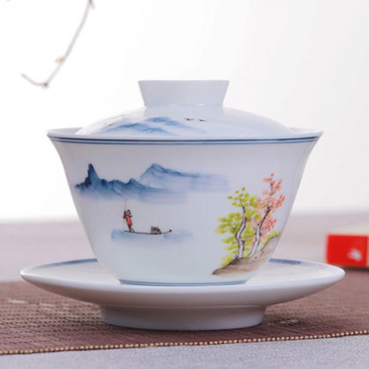 中式陶瓷盖碗泡茶杯