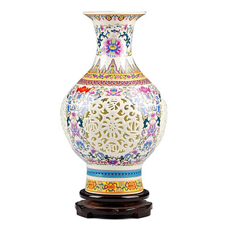 景德镇陶瓷器镂空花瓶摆件