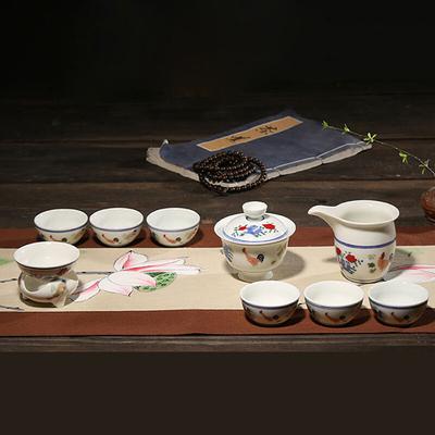 创意中式手绘白瓷功夫茶具套装