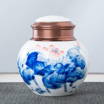 陶瓷茶具配件青花瓷茶叶盒茶叶包装罐储物密封香粉药罐茶叶罐