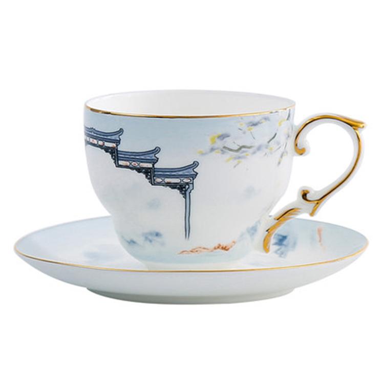新中式家用咖啡杯碟套装