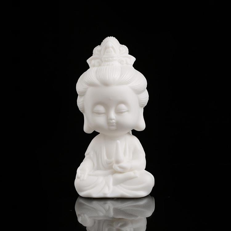 景德镇陶瓷新中式简约家居客厅电视柜玄关小和尚佛像茶宠摆件