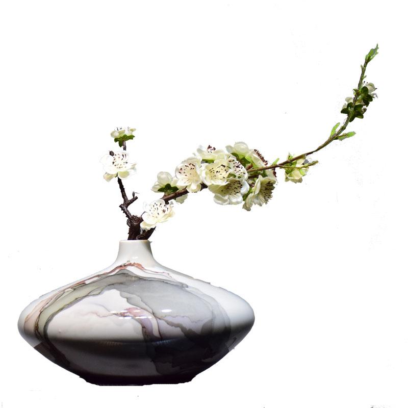 新中式景德镇陶瓷花瓶扁瓶禅意插花器