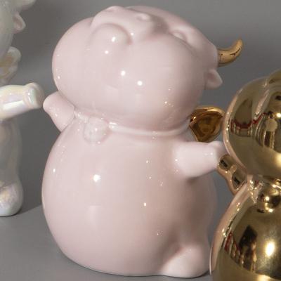 景德镇陶瓷招财牛摆件牛年吉祥物可爱北欧创意装饰桌面陶瓷摆件礼品
