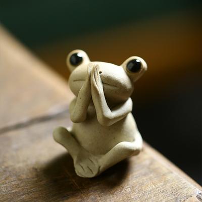 景德镇陶瓷小禅蛙茶宠佛系青蛙小摆件茶席茶道配件创意送人礼品