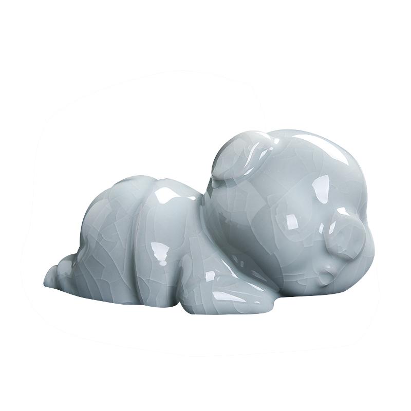 景德镇陶瓷雕塑瓷汝窑茶宠招财猪摆件