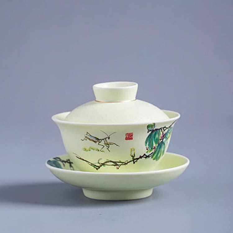 盖碗茶杯家用陶瓷茶碗
