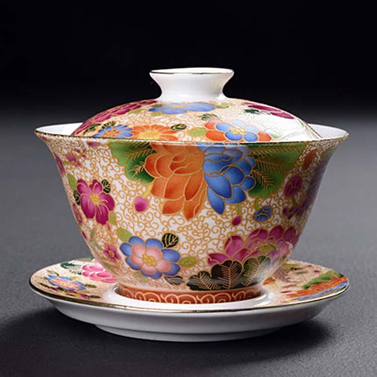 中式珐琅彩盖碗茶杯茶备泡茶器