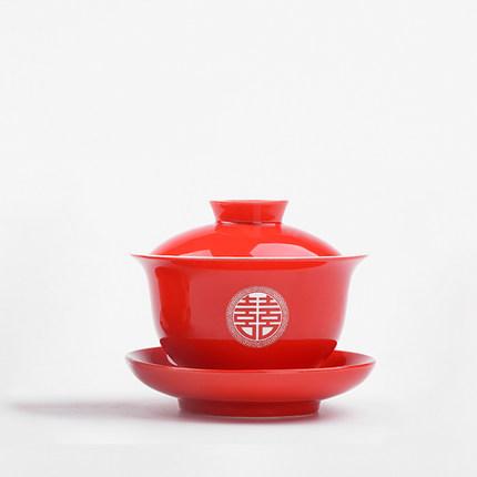 陶瓷敬茶杯双喜红色三才盖碗