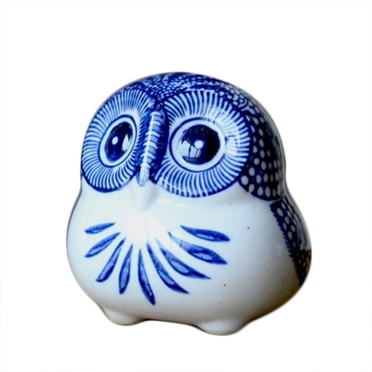 新中式青花猫头鹰陶瓷动物摆件