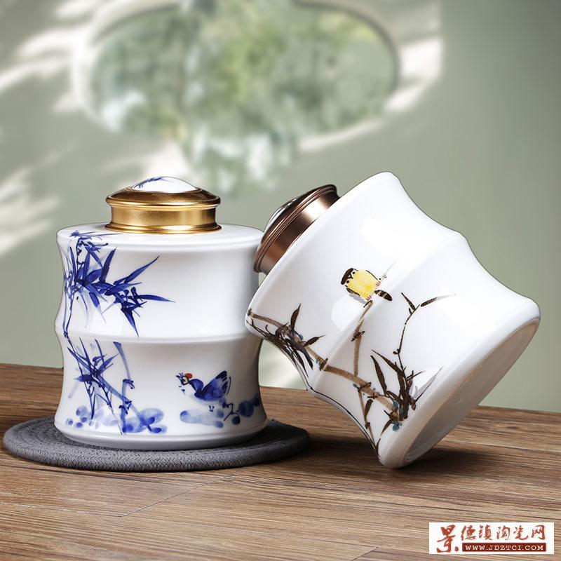 手绘半斤茶叶罐青花节节高升竹子罐子
