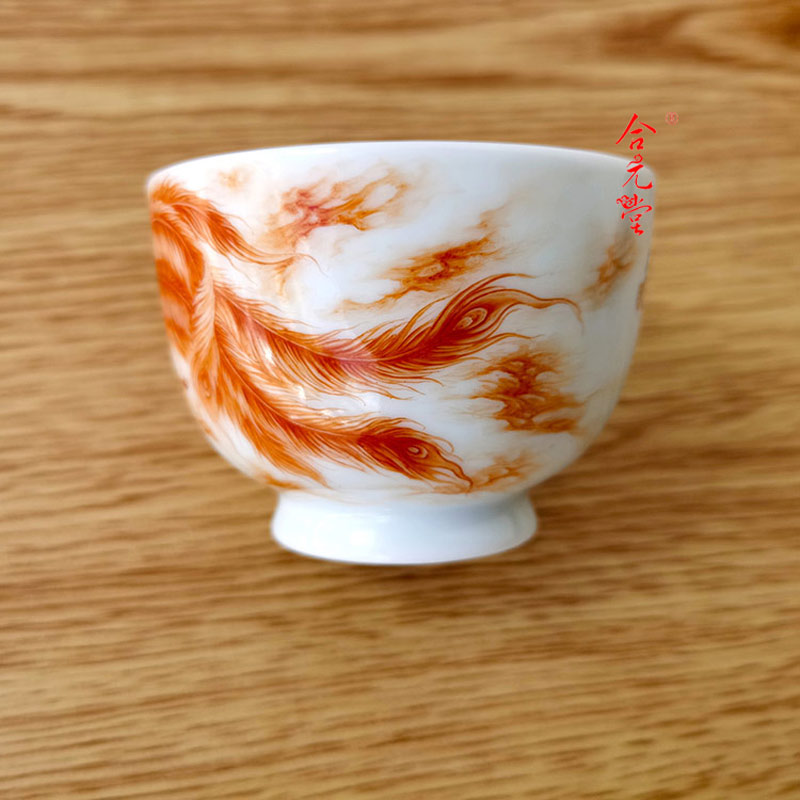 景德镇手绘粉彩茶盏