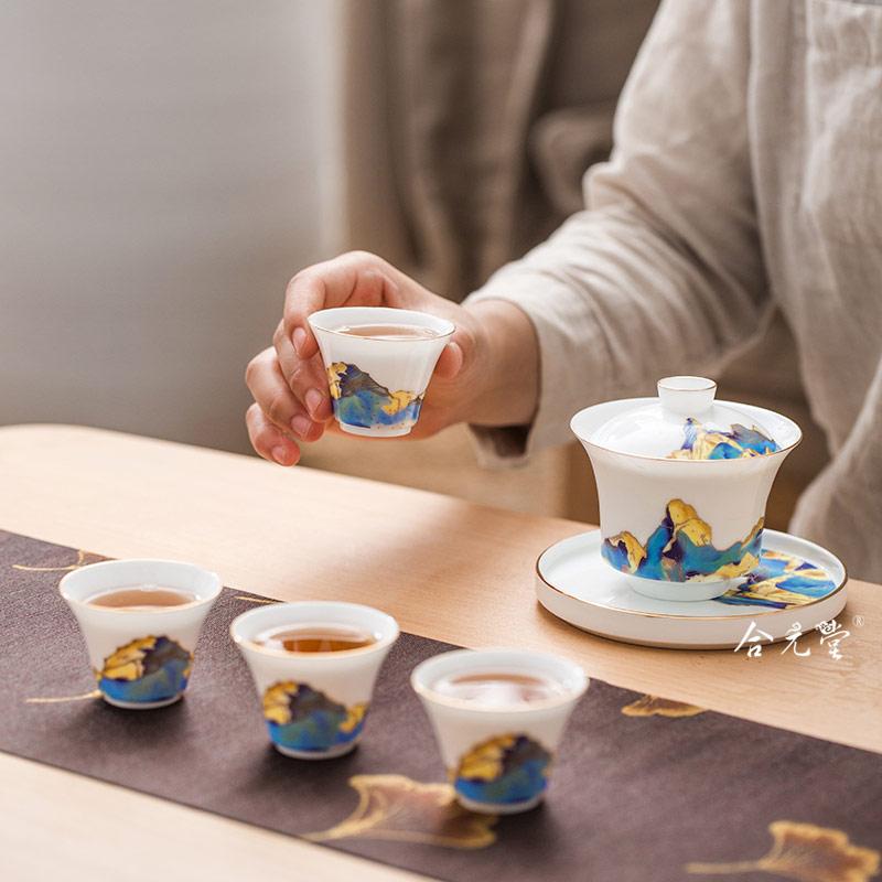 庆典活动礼品茶具 景德镇中式传统特色盖碗功夫茶具定制