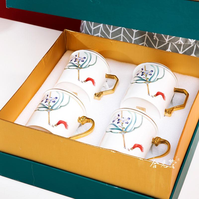 年终礼品陶瓷茶杯定做400ml手工描金高档办公杯套装