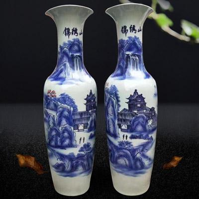 景德镇陶瓷落地花瓶 仿古墨绿迎客松大花瓶 酒店家居装饰摆件批发