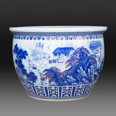 景德镇青花手绘创意陶瓷鱼缸 大金鱼盆水浅乌龟缸 睡莲水仙荷花盆