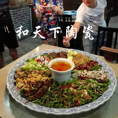 龙凤呈祥酒店青花大盘子景德镇生产陶瓷海鲜大瓷盘厂家手绘大赏盘