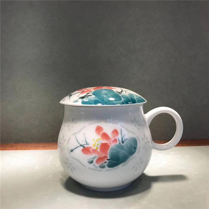 景德镇手绘陶瓷杯子粉彩玲珑茶杯过滤杯茶水分离泡茶杯带盖办公杯