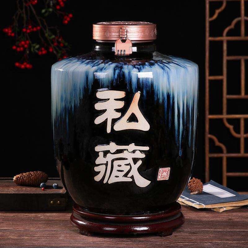 景德镇家用酒坛子酒壶泡酒缸酒罐酒瓶陶瓷仿古密封10斤50斤带龙头厂家