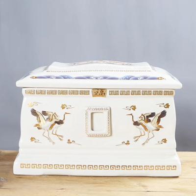 白玉陶瓷骨灰盒骨灰坛骨灰罐陶瓷棺材防腐不烂殡葬用具生产厂家
